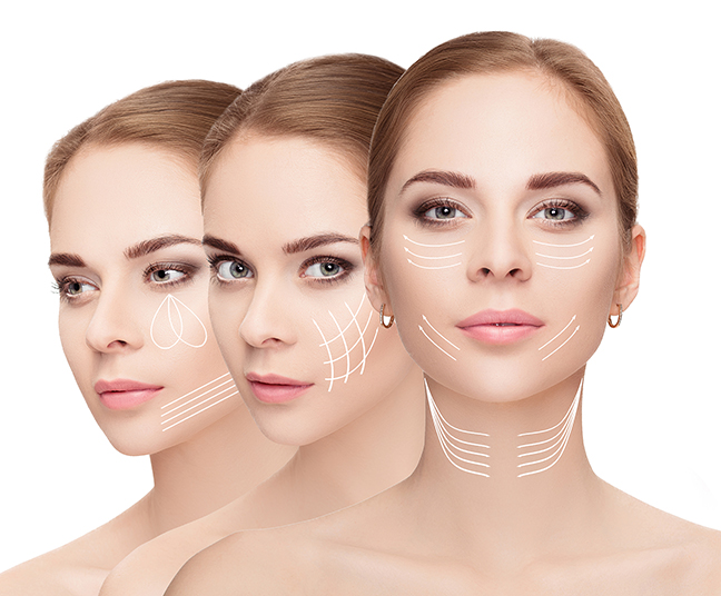 Woman Faces With Arrows Over White Background Face Lifting Concept